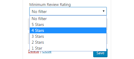 Yelp reviews rating filter